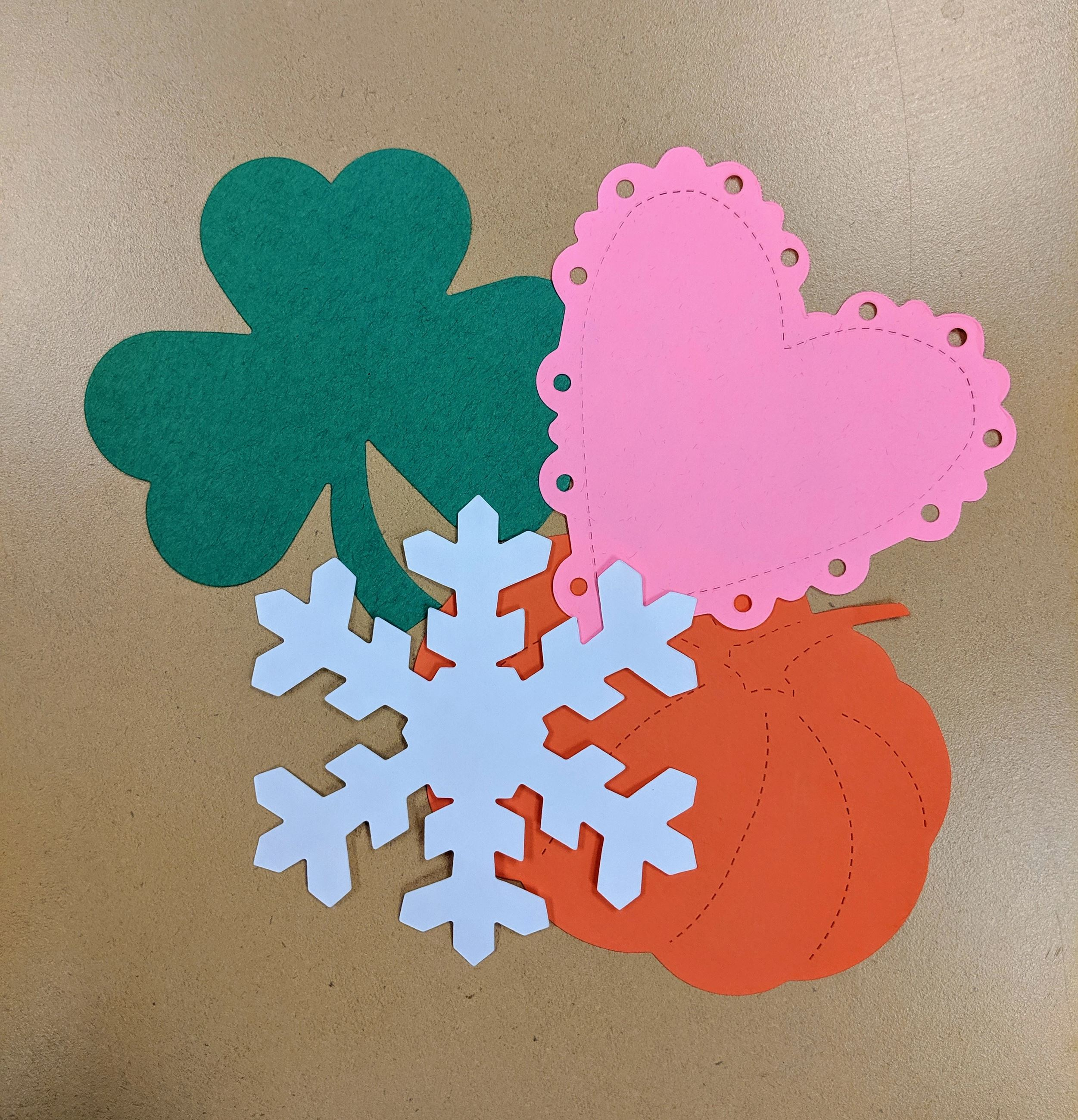 Shamrock, Heart, Snowflake and Pumpkin Die-Cuts